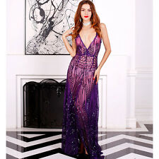 Women V-neck split see-through sequin evening party cocktail gown dress FT5139