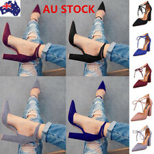 Women Ankle Strap Block Heel Shoes Pointed Toe Lace Up Pumps Sandals Party Shoes