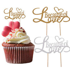 10pcs Glittering Because of Love Romantic Wedding Heart Cake Toppers Picks Flags