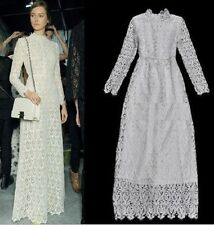 Victorian Bridal White Guipure Lace embroidered Crochet Long Sleeve maxi Dress S