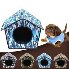 Pet Cat House Soft Camouflage Dog Bed Cave Dog House Cute Kennel Nest Dog Fleece