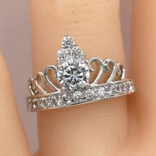 Crown Ring White Gold Plated Crown Ring Tiara Ring #471