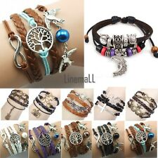 LM New Wrap Multilayer Leather Braided Bracelet Chain Fashion Wristband 6types