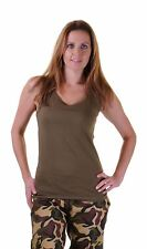 Ladies Green Camouflage Vest Stretchy Sleeveless Blouse Army Print Dress Fancy