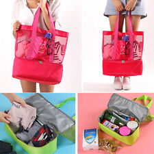 Lunch Bag Insulated Thermal Cooler Picnic Bag Mesh Beach Tote Food Drink Storage