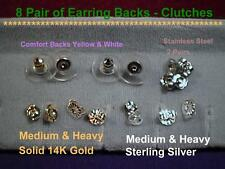 """Earring Push Backs Clutches Ear Nuts """"8pair"""" 14k Gold,Sterling Silver,Stainless"""