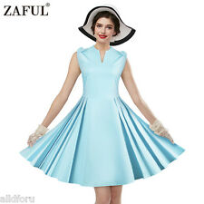 Women's Vintage Sleeveless Evening Party Cocktail Swing Bowknot Retro Dress Blue