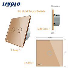 Livolo EU Gold Glass Panel 1 2 Gang 1 2 Way Remote Dimmer Curtain Touch Switch