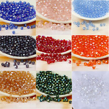 Wholesale Lot 4mm Bicone Faceted Bead Crystal Glass Loose Spacer Beads DIY AB