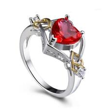 Silver Plated Red Heart Shaped Crystal Rhinestone Promise Ring Size 6 7 8