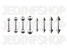 Straight Barbell Tongue Nipple Bar - 1.6mm (14g) - 14mm - Stainless Steel