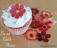 . PRE-CUT BEAUTIFUL RED FLOWERS EDIBLE WAFER PAPER CUP CAKE TOPPER DECORATION