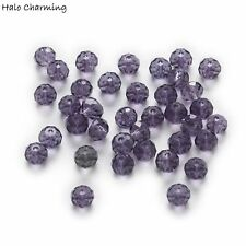 50 Piece Violet Crystal Glass Beads Rondelle Faceted Quartz Jewelry Making 4-8mm