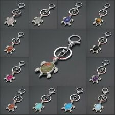 Silver Plated Multiple Stone Rose Quartz Opal Tortoise Key Chain Pendant Jewelry