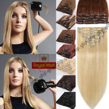 8PCS Clip in Remy Hair Extensions Full Head 100% Real Human Hair Weft Brown A742