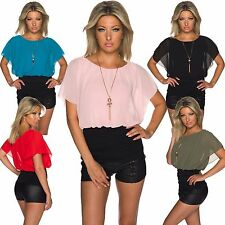Ladies Chiffon Shirt Top Tunic Blouse with Chain Jersey Office Party Club