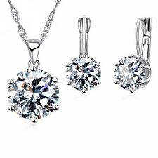 925 Sterling Silver CZ Necklace+ Dangle/Hoop Earrings Sets+ Free gift bag
