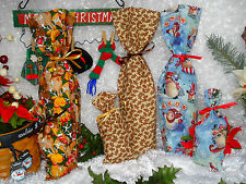 Christmas Holiday Winter Fabric Wine Bottle Gift Treat Favor Bags with Ties New
