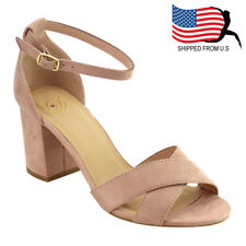 Chic Women Criss Cross Buckle Ankle Strap Wrapped Heel Sandal Dusty Mauve