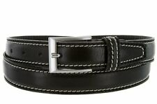 """Hagora Men Full Italian Leather Thick Contrast Stitches 1-3/8"""" Wide Buckle Belt"""