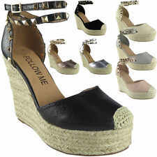 Womens Ladies Studded Ankle Strap Espadrilles Platform Shoes Wedge Sandals 4 5 6