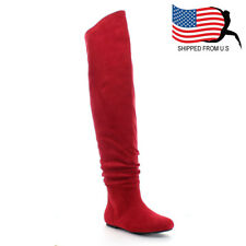 Top Seller Chic Women's Slouchy Over The Knee High Boots Half Size Small Red