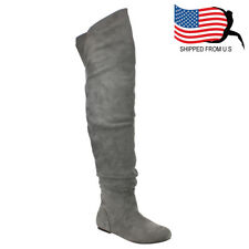 Top Seller Chic Women's Slouchy Over The Knee High Boots Half Size Small Grey