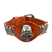 Men Women PU Leather Bracelet Hand Wristband Cuff Fashion Creepy Skull Heads
