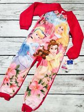 NEW Disney Princess Girls Pajamas 1-Piece Cinderella Sleeping Beauty Belle Pink