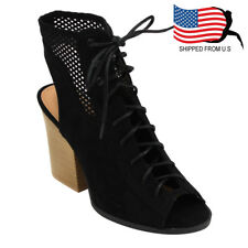 Chic Women Perforated Lace Up Chunky Stacked Heel Ankle Bootie Sandals Black