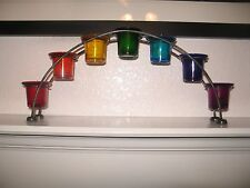 Arch Shape Metal Votive Holder with 7 Chakra Colored Glass Cups +/- Candles