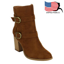 Chic Contemporary Women's Double Buckle Straps Stacked Heel Ankle Booties Tan