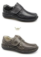 MENS DR KELLER WIDE FIT TOUCH FASTENING BROWN BLACK LEATHER SHOES  SIZE 6-12 UK
