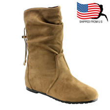 Chic Contemporary Women's Slouchy Pull On Draw String Mid-Calf Boots Taupe