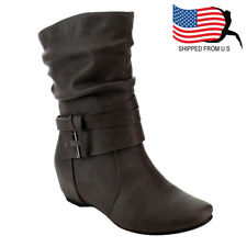 Chic Contemporary Women Straps Deco Mid-Calf Slouch Boot One Size Small Grey