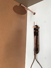 Rose gold copper shower head set 200 mm round wall arm new mixer diverter spout