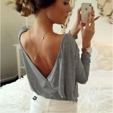 Women Casual O Neck Long Sleeve Wrap Split Sexy Backless Basic Tee Blouse LM