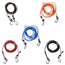 4mm 12' Adjustable Bungee Kayak Canoe Tow Line Leash with 2 Carabiner Clips