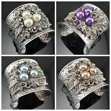 Gorgeous Antique Silver Tone Metal Leaf Shape Faux Pearl Crystal Cuff Bracelets
