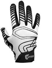 Cutters Youth Rev Receiver Football Gloves (Pair), White/Black
