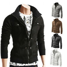 Motorcycle Style Punk Mens Stand Collar Jacket Coat Slim Warm Jackets Blazer Hot