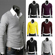 Men's Casual Slim Fit V-neck Knitted Cardigan Pullover Jumper Sweater Tops Hot