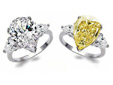 925 Silver Luxurious White Yellow Topaz Ring Wedding Engagement Jewelry Sz 6-10
