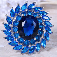 13.8ct Blue Sapphire 925 Silver Women Jewelry Ring Wedding Engagement Size 6-10