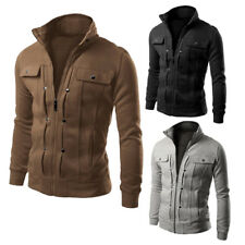 Men's Slim Fit Stand Collar Winter Coat Tops Military Jacket  Zip Outwear Blazer