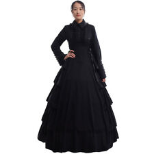 Gothic Flounces Reenactment Costume Dress Vintage Victorian Black Ball Gown