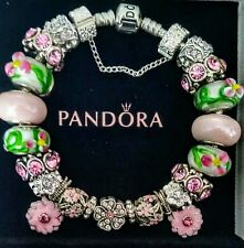 AUTHENTIC PANDORA Sterling Silver CHARM BRACELET with European Beads Charms #55