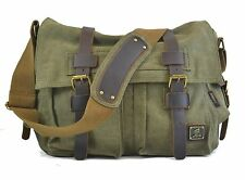 Canvas Military Style Shoulder Bag Messenger Bag in Army Green - NEW