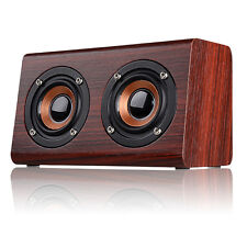 W7 Wooden Wireless Bluetooth Speaker Mini Dual Horn Stereo Super Bass Speakers