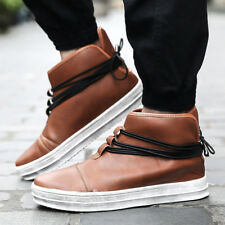 Mens Fashion New Leather Loafers Casual High Top Sneakers Ankle Boots Shoes